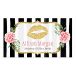 Makeup Artist Gold Lips Romantic Floral Striped Pack Of Standard Business Cards