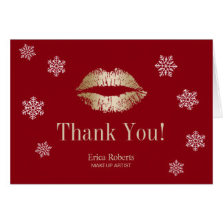 Makeup Artist Gold Lips Snowflakes Red Holiday Card