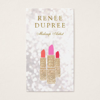 Makeup Artist Gold Lipstick Bokeh Beauty Business Card
