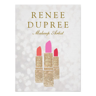 Makeup Artist Gold Lipstick Bokeh Beauty Poster