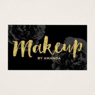 Makeup Artist Gold Script Elegant Black Floral