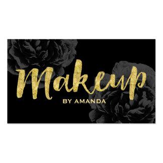 Makeup Artist Gold Script Elegant Black Floral Pack Of Standard Business Cards
