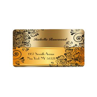 Makeup Artist Gold, Swirly Vines Label