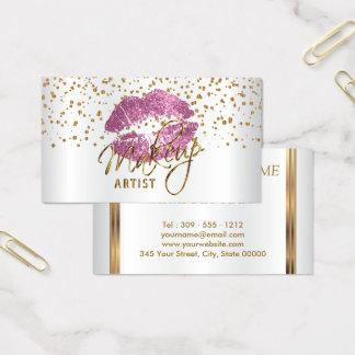Makeup Artist Golden Confetti & So Pink Lips Business Card