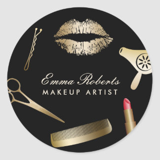 Makeup Artist Hair Stylist Black & Gold Salon Round Sticker