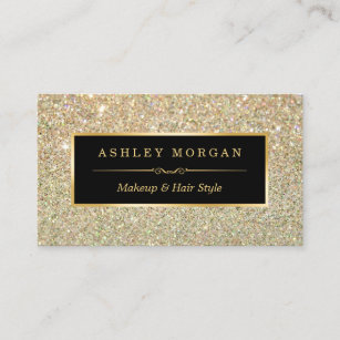Makeup artist business cards zazzle au makeup artist hair stylist funky gold glitter business card reheart Images