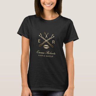 Makeup Artist & Hair Stylist Gold Beauty Logo T-Shirt