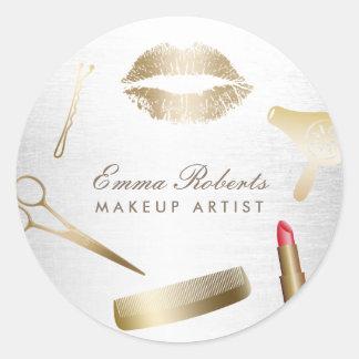 Makeup Artist Hair Stylist Modern Gold & Silver Round Sticker