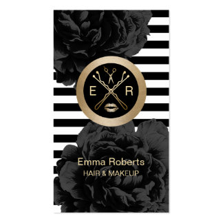 Makeup Artist & Hair Stylist Modern Stripes Floral Pack Of Standard Business Cards