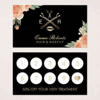 Makeup Artist Hair Stylist Vintage Floral Loyalty Business Card