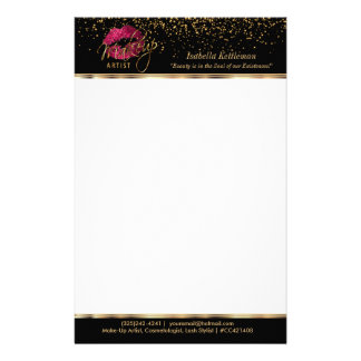 Makeup Artist Hot Pink Glitter Lips Stationery