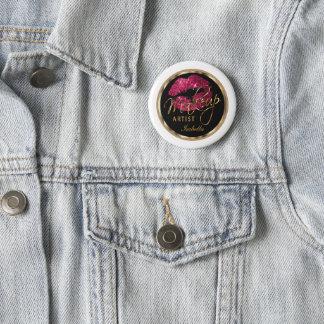 Makeup Artist - Hot Pink Glitter On Black & White 6 Cm Round Badge