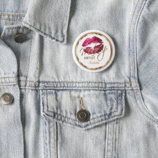 Makeup Artist - Hot Pink Lips on White 6 Cm Round Badge