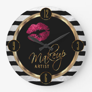 Makeup Artist Hot Pink Lips with White Stripes Clock