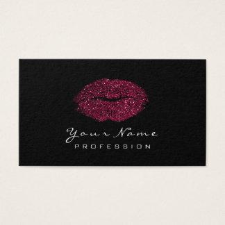 Makeup Artist Lips Beauty Glitter Burgundy Black Business Card