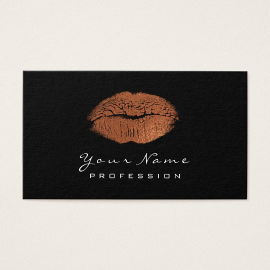 Makeup Artist Lips CopperGold Lipstick Black White Business Card