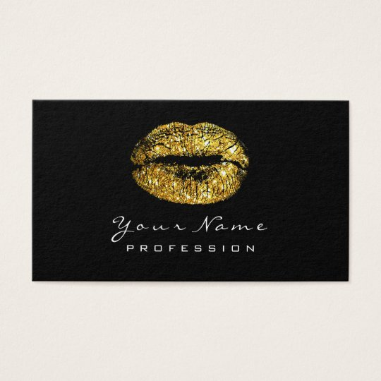 Makeup Artist Lips Faux Gold Lipstick Black White Business Card