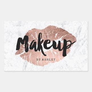 Makeup artist lips rose gold typography marble rectangular sticker