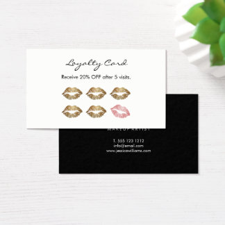Makeup Artist Loyalty Chic Gold Lips II Business Card