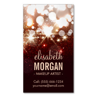 Makeup Artist - Modern Glitter Sparkle Magnetic Business Cards