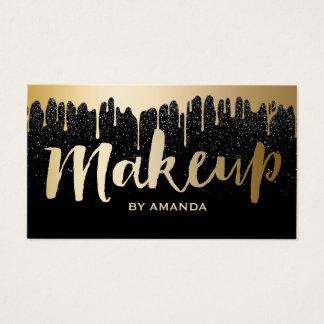 Makeup Artist Modern Gold Drips Black Glitter Business Card