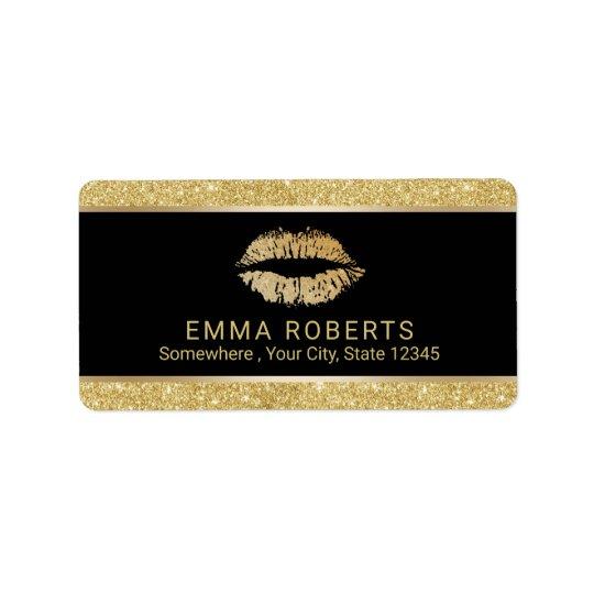 Makeup Artist Modern Gold Glitter Lips Salon Label