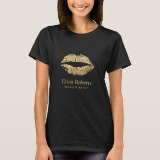 Makeup Artist Modern Gold Glitter Lips Salon T-Shirt