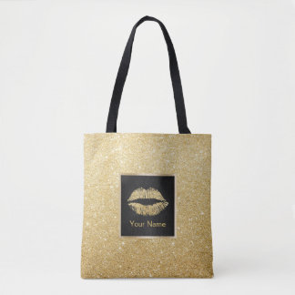 Makeup Artist Modern Gold Glitter Lips Tote Bag