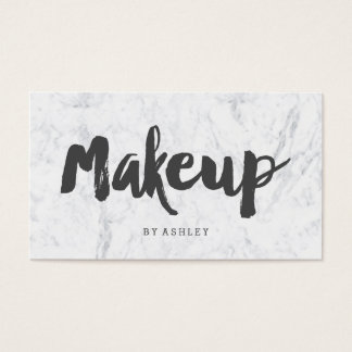 Makeup artist modern gray typography marble business card