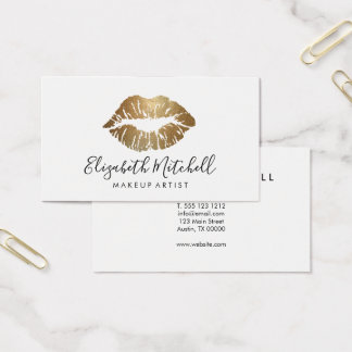 Makeup Artist Modern Handwritten Gold Glitter Lips Business Card
