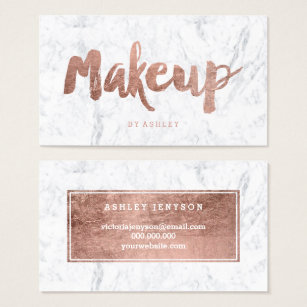 Makeup artist business cards business card printing zazzle makeup artist modern rose gold typography marble business card colourmoves