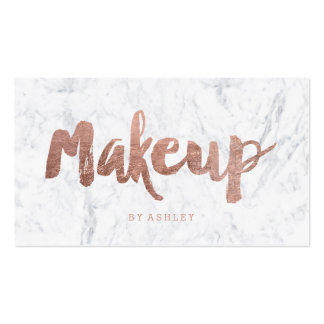 Makeup artist modern rose gold typography marble pack of standard business cards