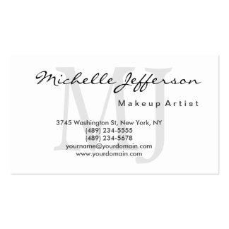 Makeup Artist Monogram Script White Business Card