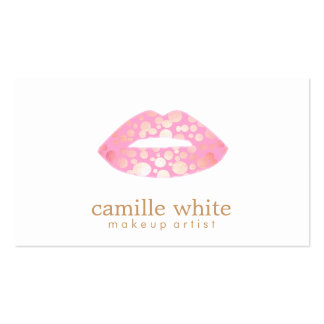 Makeup Artist Pink and Gold Lips Beauty Salon Pack Of Standard Business Cards