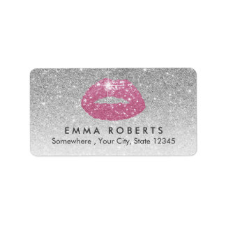 Makeup Artist Pink Lips Modern Silver Glitter Address Label