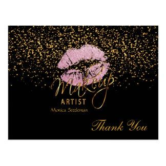 Makeup Artist  Pink Lips on Black Postcard