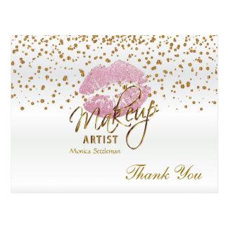 Makeup Artist  Pink Lips on White Postcard