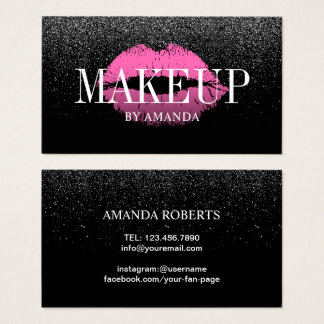 Makeup Artist Pink Lips Trendy Black Glitter Bold Business Card