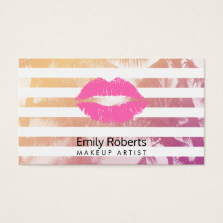 Makeup Artist Pink Lips Trendy Stripes Tropical