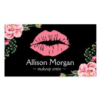 Makeup Artist Pink Lips Vintage Floral Decor Pack Of Standard Business Cards