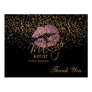 Makeup Artist  Pink Rose Lips on Black Postcard