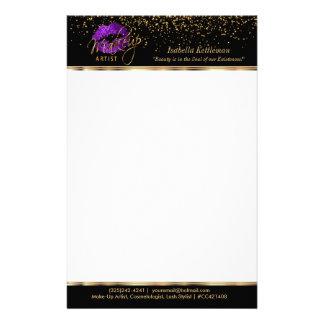 Makeup Artist Purple Glitter Lips Personalised Stationery