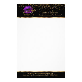 Makeup Artist Purple Glitter Lips Stationery