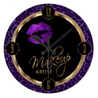 Makeup Artist Purple Lips with Leopard Print Wallclock