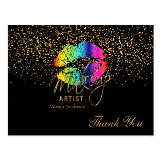 Makeup Artist  Rainbow Lips on Black Postcard