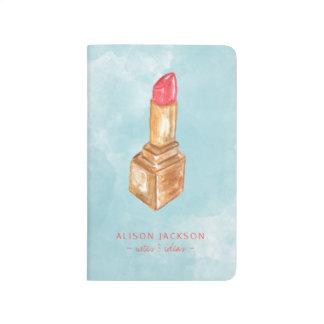 Makeup artist red blue watercolor lipstick journal