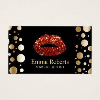 Makeup Artist Red Glitter Lips Modern Gold Dots Business Card