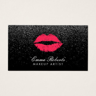 Makeup Artist Red Lips Black Glitter Modern Business Card