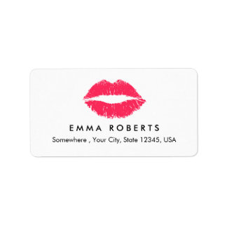 Makeup Artist Red Lips Elegant Beauty Salon Address Label