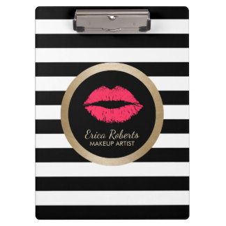 Makeup Artist Red Lips Modern Black White Stripes Clipboard